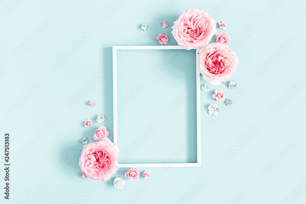 Fototapety, obrazy: Flowers composition. Photo frame, rose flowers on pastel blue background. Valentines day, mothers day, womens day, spring concept. Flat lay, top view, copy space