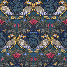 Decorative Flower Composition With Stylized Red Poppies, Bluebells And Birds. Medieval Gothic Style Seamless Pattern. EPS10 Vector Illustration
