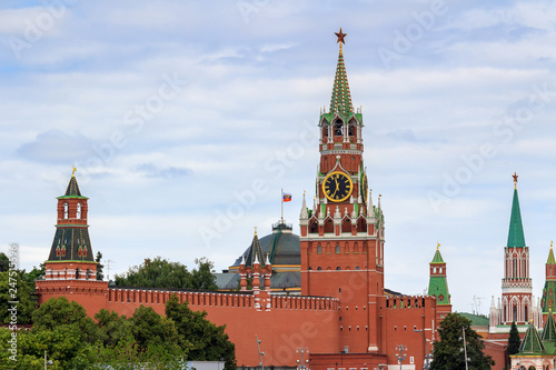 Wall Murals Moscow Moscow Kremlin towers on a background of cloudy sky