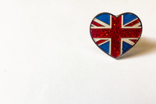 Union Flag Known As Union Jack On Heart Shaped Broach.