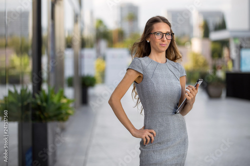 Photo Portrait of a proud female business executive achiever with healthy attitude, in