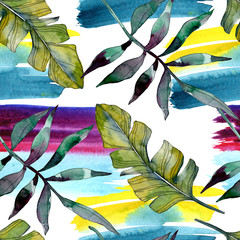 FototapetaGreen leaf. Exotic tropical hawaiian summer. Watercolor background illustration set. Seamless background pattern.