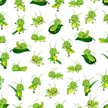 Seamless Pattern With Grasshop...