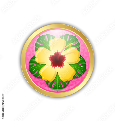 Golden Hawaiian badge in Polynesian style with yellow hibiscus that is national flower of Hawaii state