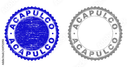 ACAPULCO stamp seals with grunge texture in blue and gray colors isolated on white background Tablou Canvas
