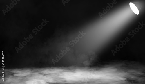 Recess Fitting Light, shadow White projector. Spotlight stage with smoke on the floor . Isolated background.