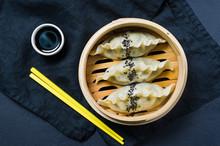 Japanese Gyoza In A Traditiona...