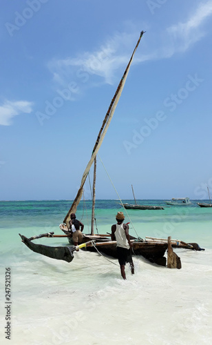 Printed kitchen splashbacks Zanzibar Wooden hand made fisherman catamaran boat, kenya, africa