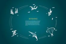 Skydiving - People In Air Jump...