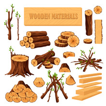 Set Of Firewood Materials For ...