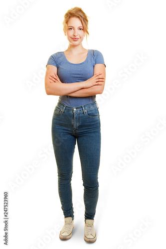 Photo  Junge blonde Frau als Freisteller frontal von vorne