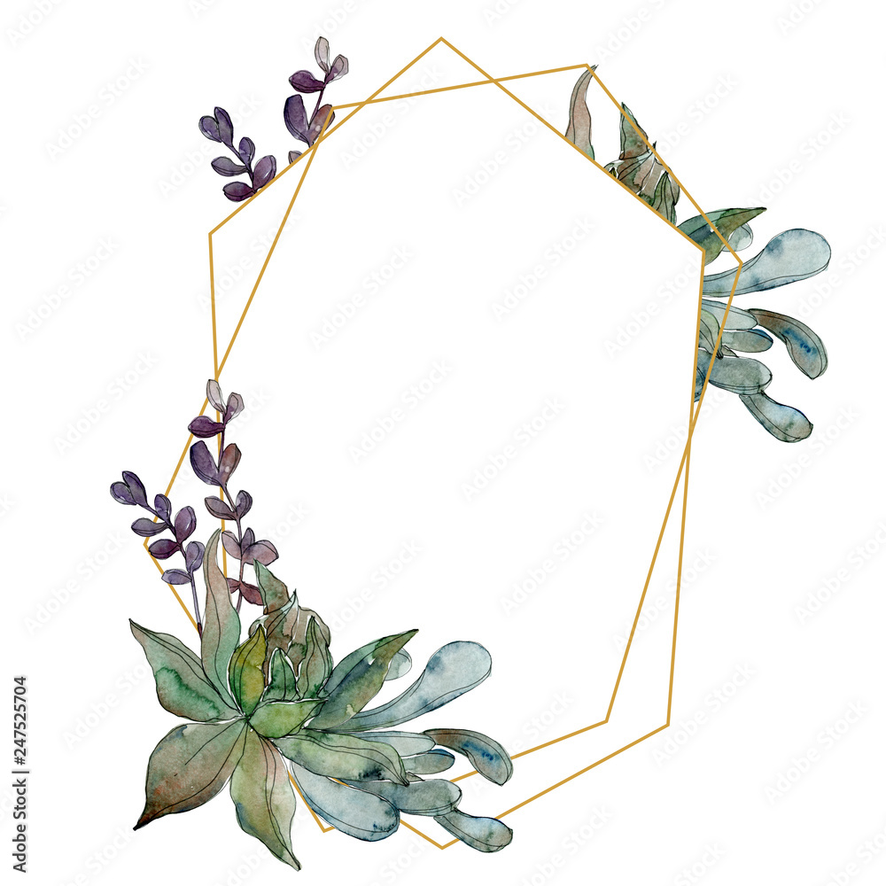 Fototapeta Jungle botanical succulent. Watercolor background illustration set. Frame border ornament square.