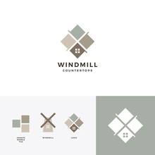 Windmill Tile Granite And Marble Countertop Logo Vector Icon