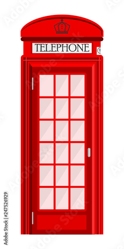 Fotografie, Obraz  Street phone booth isolated on white background