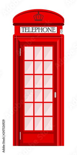 Fototapeta  Street phone booth isolated on white background