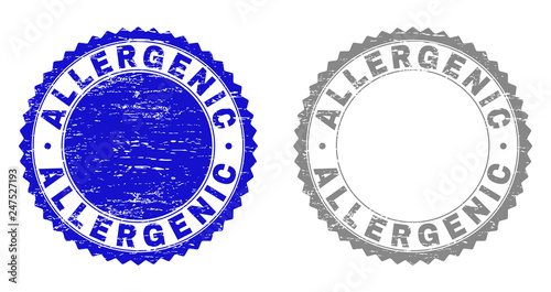 ALLERGENIC stamp seals with distress texture in blue and grey colors isolated on white background Wallpaper Mural