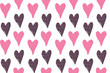 Hand drawn doodle heart pattern background wallpaper