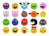 Fototapeta Fototapety na ścianę do pokoju dziecięcego - Monster and animal emoticons. Vector cartoon funny monsters, cute animals smileys faces, cartoon happy and scary expressions characters