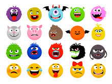 Monster And Animal Emoticons. ...