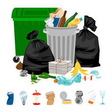 Garbage On White. Cartoon Vector Trash And Food Rubbish, Litter And Refuse, Sweepings For Waste Dump For Recycle, Vector Illustration