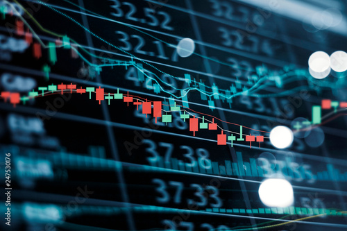 Fotomural .LED display stock market numbers and graph Stock market chart and data on dark
