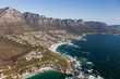 Aerial view of Cape town South Africa from a helicopter. Panorama birds eye view