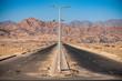 Asphalt road through the incredible mountains of the Sinai Peninsula