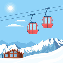 Red Ski Cabin Lift For Skiers ...