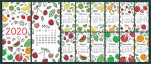 Calendar 2020. Vector Wall English Calender Template. Fruits, Berries. Lemon, Kiwi, Banana, Pear, Cherry, Strawberry, Raspberry, Watermelon, Grapes, Apple, Pomegranate. Hand Drawn Design. New Year
