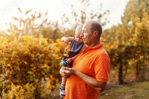 Fotografie, Obraz  Grandfather holding his grandson while standing in vineyard at autumn