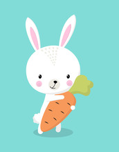 Bunny With Carrot Isolated
