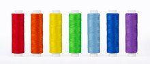 Set Of Sewing Thread Coils, Miscellaneous Colours, Isolated On White