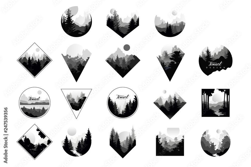 Fototapeta Set of monochrome landscapes in geometric shapes circle, triangle, rhombus. Natural sceneries with wild pine forests. Flat vector for company logo or camping logo