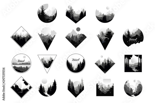 Photo  Set of monochrome landscapes in geometric shapes circle, triangle, rhombus