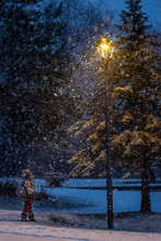 Boy Standing In A Snow Storm Looking Up At A Street Lantern, United States