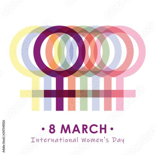 Cuadros en Lienzo 8th march international womans day colorful female symbol vector illustration EP