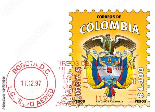 Fototapeta Colombian stamp. Escudo de Colombia. Yellow stamped obraz