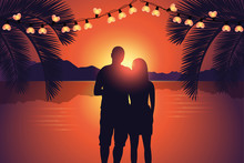 Couple Enjoy The Romantic Sunset At Paradise Beach Vector Illustration EPS10