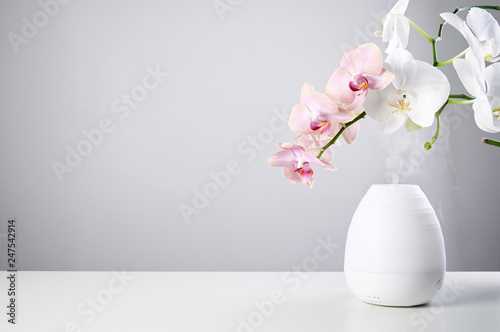 Autocollant pour porte Orchidée Ultrasonic Oil diffuser and orchid flowers on white table of gray background