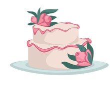 Wedding Cake With Flowers Cream Or Icing Isolated Confectionery Food