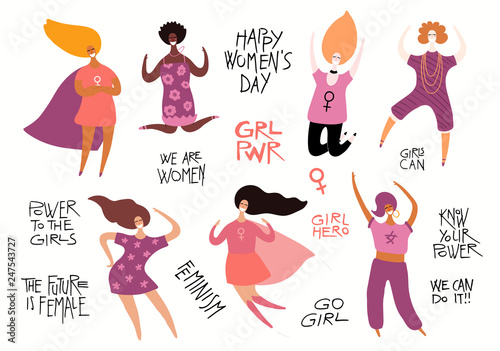 Tuinposter Illustraties Set of diverse women, quotes about girl power, feminism. Isolated objects on white background. Hand drawn vector illustration. Flat style design. Concept, element for womens day card, poster, banner.
