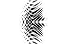 Black On White Oval Halftone Texture. Rough Dotwork Gradient. Distressed Dotted Vector Background.