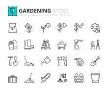 Outline Icons About Gardening