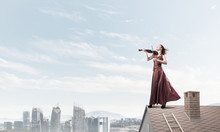Woman Violinist In Red Dress P...