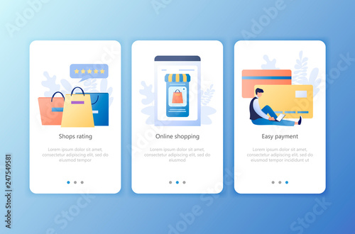 Online Shopping Shops Rating Easy Payment Set Of Onboarding Screens User Interface Kit Mobile Application Templates Website Web Page Modern Ux Ui Flat Business Concept Vector Illustration Buy This Stock Vector