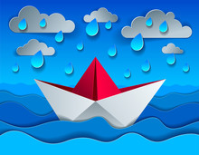 Origami Paper Ship Toy Swimming In Rain Over Ocean, Curvy Waves Of The Sea And Clouds In The Sky, Beautiful Vector Illustration In Paper Cut Style.