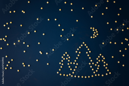 Photo Picture of night landscape from italian pasta - stars, forest, Moon and Ursa Minor