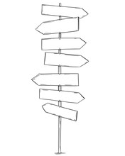 Artistic Drawing Of Old Empty Or Blank Wooden Seven Directions Road Arrow Sign. Ready For Your Text.