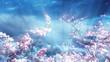 Sakura Tree And Petals On Blue Fantasy Sky