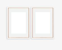 Set Of 2 Rose Gold And White A4 A3 Frame Mockup Portrait Orientation